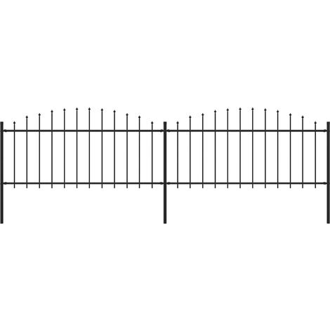 Garden Fence with Spear Top Steel (0.5-0.75)x3.4 m Black