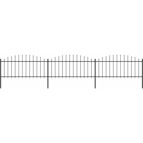 Garden Fence with Spear Top Steel (0.5-0.75)x5.1 m Black
