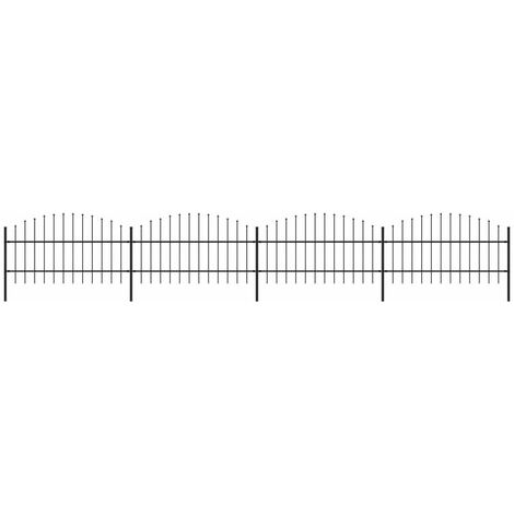 Garden Fence with Spear Top Steel (0.75-1)x6.8 m Black