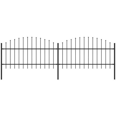 Garden Fence with Spear Top Steel (1-1.25)x3.4 m Black