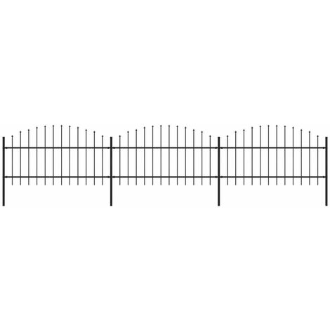 Garden Fence with Spear Top Steel (1-1.25)x5.1 m Black