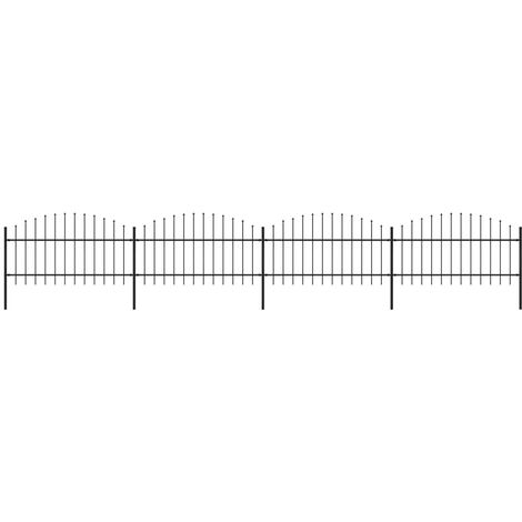 Garden Fence with Spear Top Steel (1-1.25)x6.8 m Black
