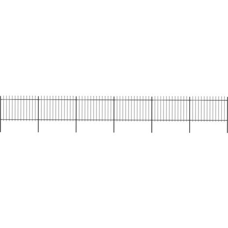 Garden Fence with Spear Top Steel 10.2x1.2 m Black