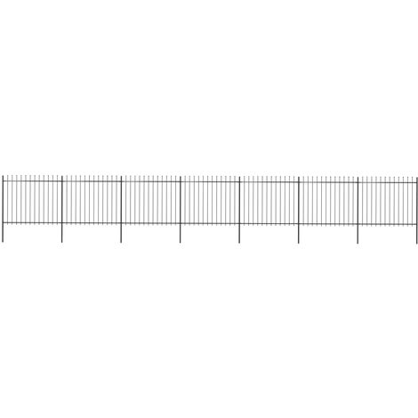 Garden Fence with Spear Top Steel 11.9x1.5 m Black