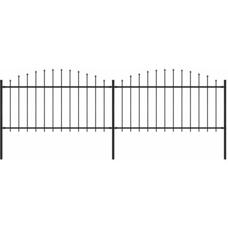 Garden Fence with Spear Top Steel (1.25-1.5)x3.4 m Black