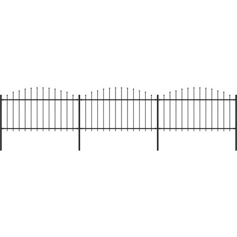 Garden Fence with Spear Top Steel (1.25-1.5)x5.1 m Black
