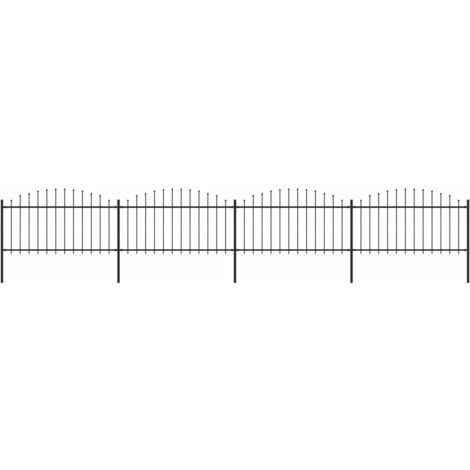 Garden Fence with Spear Top Steel (1.25-1.5)x6.8 m Black