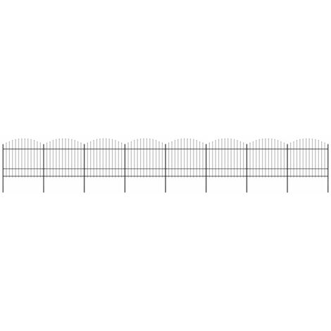 Garden Fence with Spear Top Steel (1.5-1.75)x13.6 m Black