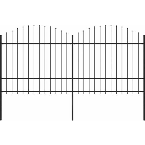 Garden Fence with Spear Top Steel (1.5-1.75)x3.4 m Black