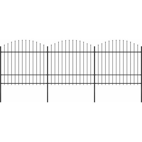 Garden Fence with Spear Top Steel (1.5-1.75)x5.1 m Black
