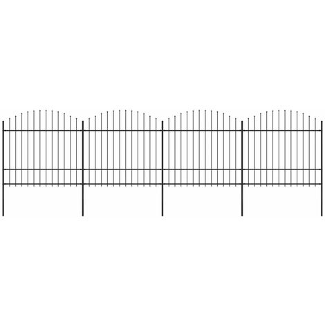 Garden Fence with Spear Top Steel (1.5-1.75)x6.8 m Black