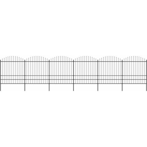 Garden Fence with Spear Top Steel (1.75-2)x10.2 m Black