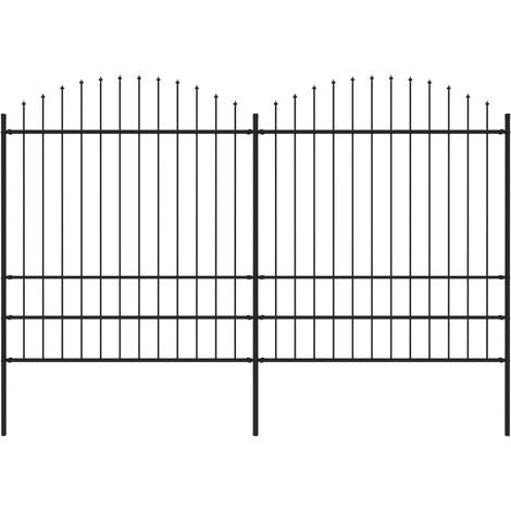 Garden Fence with Spear Top Steel (1.75-2)x3.4 m Black