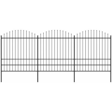 Garden Fence with Spear Top Steel (1.75-2)x5.1 m Black