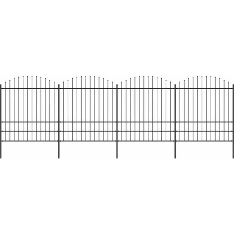 Garden Fence with Spear Top Steel (1.75-2)x6.8 m Black