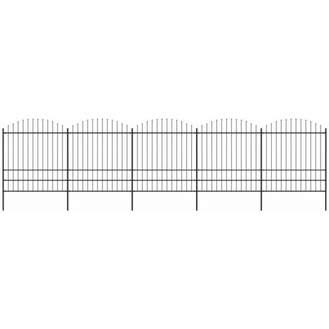 Garden Fence with Spear Top Steel (1.75-2)x8.5 m Black