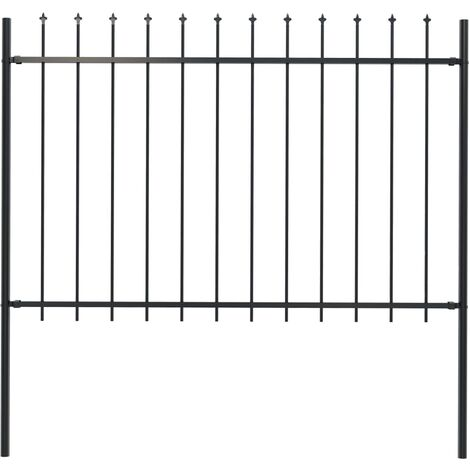 Garden Fence with Spear Top Steel 1.7x1.2 m Black