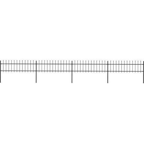 Garden Fence with Spear Top Steel 6.8x0.6 m Black