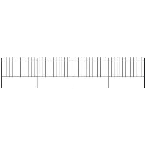 Garden Fence with Spear Top Steel 6.8x1 m Black