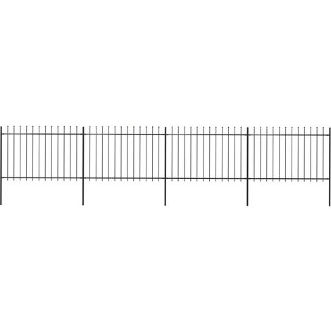 Garden Fence with Spear Top Steel 6.8x1.2 m Black