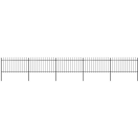 Garden Fence with Spear Top Steel 8.5x1 m Black