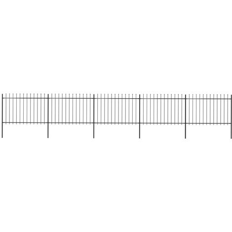 Garden Fence with Spear Top Steel 8.5x1.2 m Black