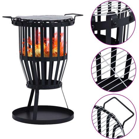 Garden Fire Pit Basket with BBQ Grill Steel 47.5 cm - Black