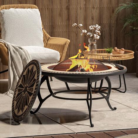 "main image of ""Garden Fire Pit BBQ Grill Shelf Brazier Round Table Stove Patio Heater + Rain Cover"""