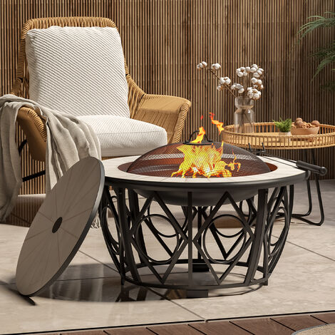 """main image of """"Garden Fire Pit BBQ Mosaic Table Stove Outdoor Heater Fire Bowl + Rain Cover"""""""