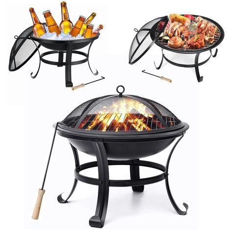 Garden Fire Pit Patio Heater Outdoor BBQ Grill Shelf 56*56*45cm