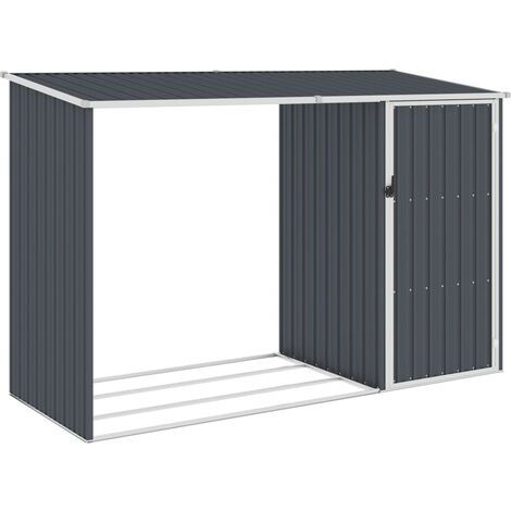 Garden Firewood Shed Anthracite 245x98x159 cm Galvanised Steel