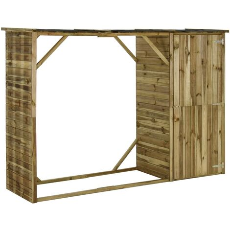 Garden Firewood Tool Storage Shed Pinewood 253x80x170 cm - Brown