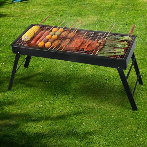 Garden Foldable BBQ Charcoal Grill Outdoor Picnic Barbecue Fire Pit Stove Black