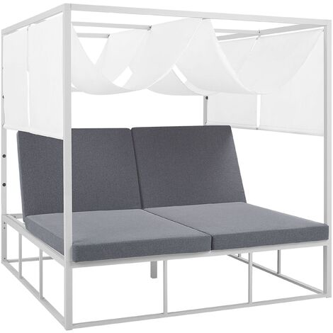 Garden Four Poster Daybed with Canopy White and Grey PALLANZA