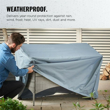 Garden Furniture Bench Seat Storage 2 Seater Outdoor Waterproof Hasaki
