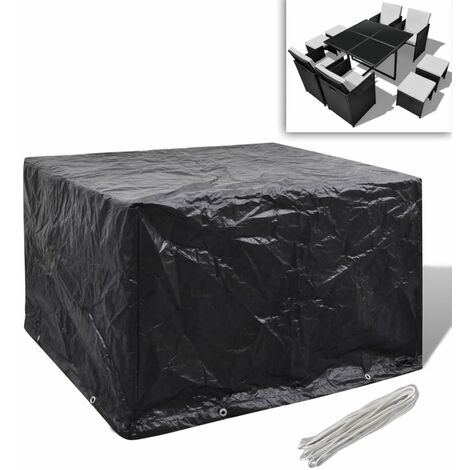 Garden Furniture Cover 4 Person Poly Rattan Set 8 Eyelets 113 x 113cm - Black