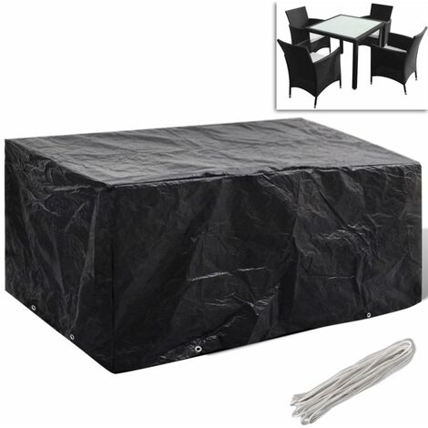 Garden Furniture Cover 4 Person Poly Rattan Set 8 Eyelets 180 x 140cm - Black