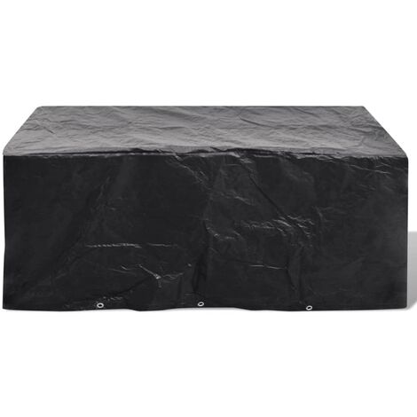 Garden Furniture Cover 6 Person Poly Rattan Set 10 Eyelets 240x140cm - Black