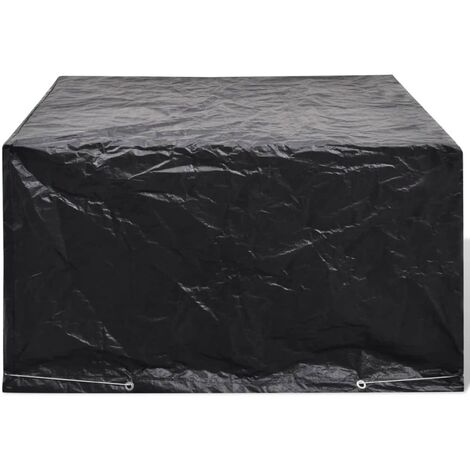 Garden Furniture Cover 6 Person Poly Rattan Set 8 Eyelets 172 x 113cm - Black