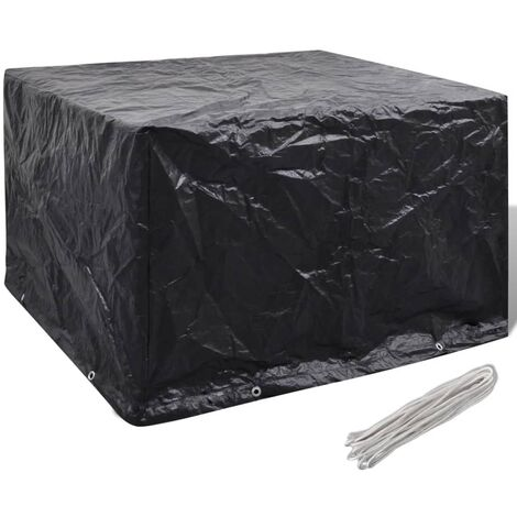 Garden Furniture Cover 8 Eyelets 135 x 135 x 90 cm - Black
