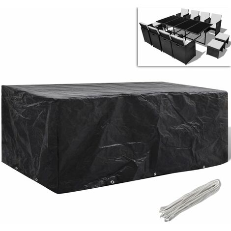 Garden Furniture Cover 8 Person Poly Rattan Set 10 Eyelets 229x113cm - Black