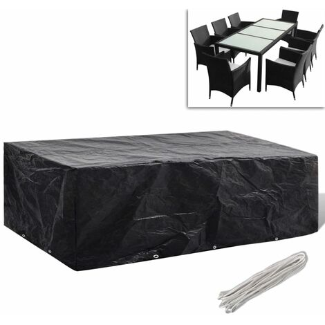 Garden Furniture Cover 8 Person Poly Rattan Set 10 Eyelets 300x140cm - Black