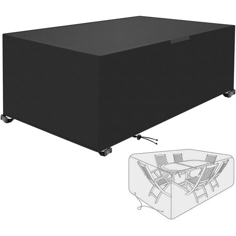 """main image of """"Garden Furniture Cover,Rattan Cube Set Cover,Cube Table Cover 210D Heavy Duty Oxford Fabric Patio Set Cover Rattan Furniture Cover for Cube Set,Patio,Outdoor 242 x 162 x 100 cm"""""""