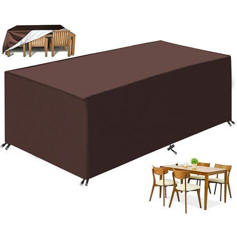 Garden furniture lounge cover, 210d Waterproof garden cabinet Fabric Oxford, Anti-UV protection Protection, Waterproof rain rain, rectangular Case for table Furniture sofa (brown)