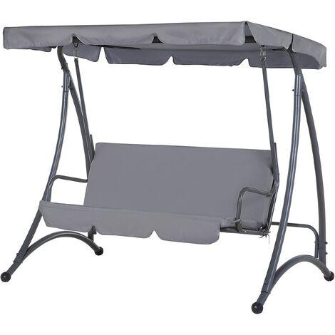 Garden Furniture - Outdoor Furniture - Garden Swing - Swing Seat - 3 Seater - Dark Grey - TEMPLE