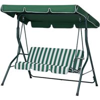 Garden Furniture - Outdoor Furniture - Garden Swing - Swing Seat - 3 Seater - Green and White - CHAPLIN