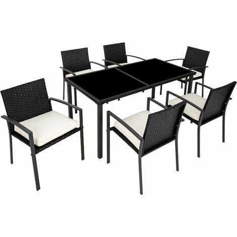 Rattan garden furniture set Brixen 6+1 - garden tables and chairs, garden furniture set, outdoor table and chairs - black