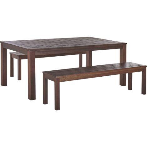 "main image of ""Garden Furniture Set Eucalyptus Wood Natural Dining Table 2 Benches Toscania"""