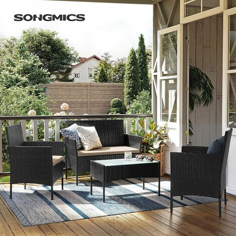 Garden Furniture Sets, Polyrattan Outdoor Patio Furniture, Conservatory PE Wicker Furniture, for Patio Balcony Backyard, Black and Beige GGF002B01 - Black