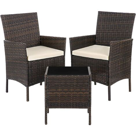 Garden Furniture Sets, Polyrattan Outdoor Patio Furniture, Conservatory PE Wicker Furniture, for Patio Balcony Backyard, Brown and Beige GGF001BR1 - Brown and Beige